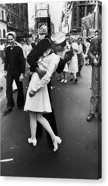 American Sailor Kisses White-uniformed Canvas Print by Alfred Eisenstaedt