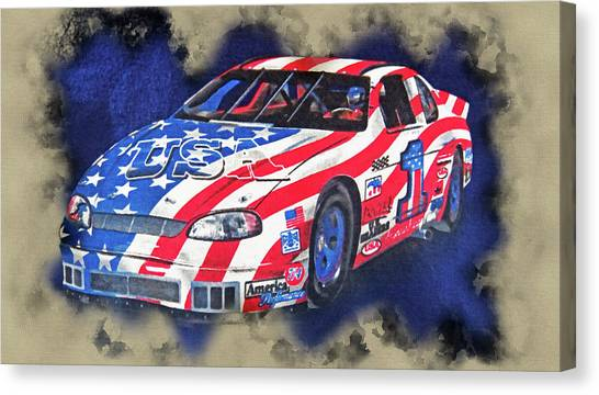 Kyle Busch Canvas Print - American Stock Car In Watercolor by Robert Kinser