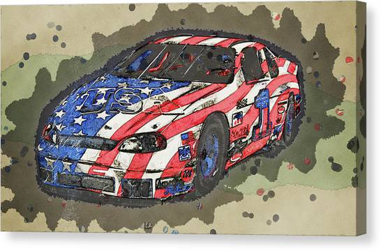Kyle Busch Canvas Print - American Stock Car by Robert Kinser