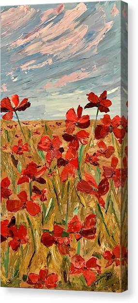 Among The Poppies.   2 Of 2 Canvas Print