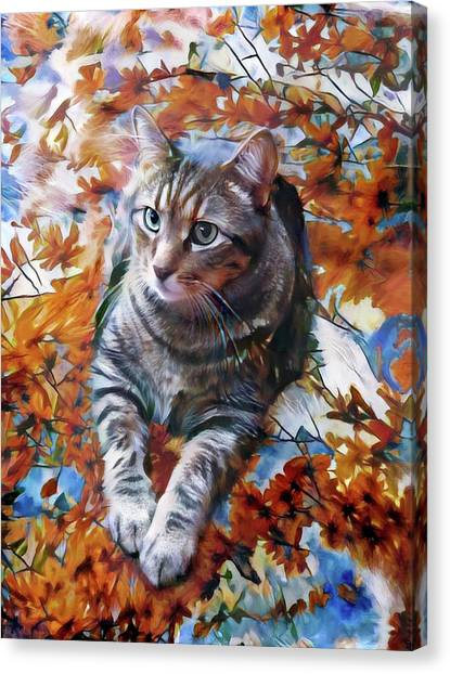 Amos In Flowers Canvas Print
