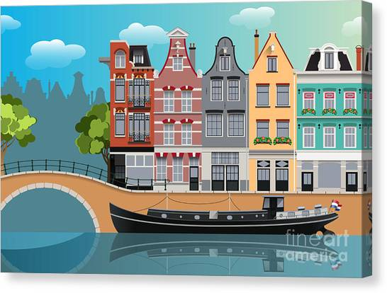 Famous Places Canvas Print - Amsterdam Landscape by Nikola Knezevic
