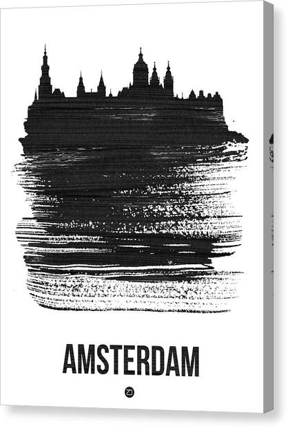 Holland Canvas Print - Amsterdam Skyline Brush Stroke Black by Naxart Studio