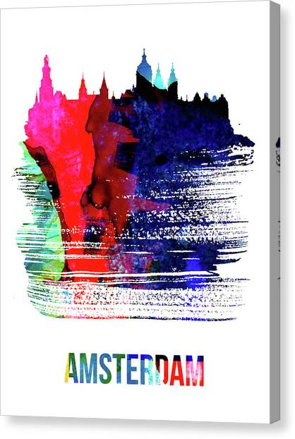 Holland Canvas Print - Amsterdam Skyline Brush Stroke Watercolor   by Naxart Studio