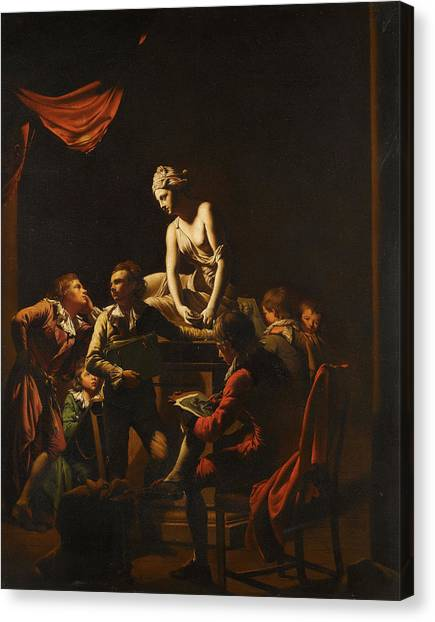 Hellenistic Art Canvas Print - An Academy By Lamplight by Joseph Wright of Derby