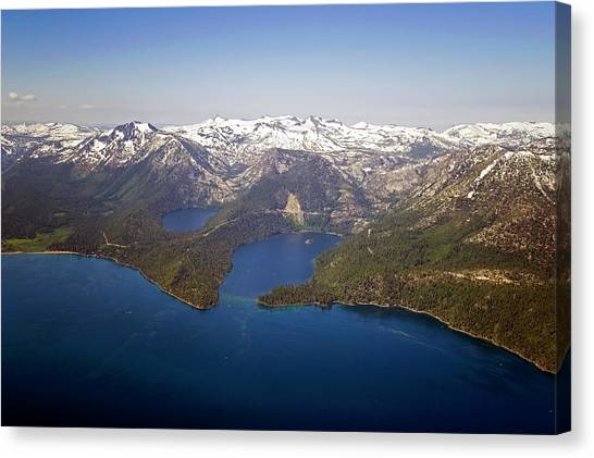 An Aerial Photograph Of Lake Tahoe And Canvas Print