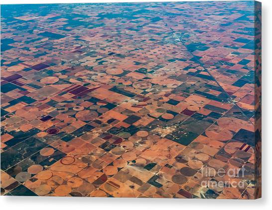 Farmland Canvas Print - An Aerial View Of Massive Farmland With by Richard A Mcmillin