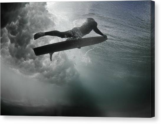 An Alaia Surfer Rises To The Surface Canvas Print by Mark Tipple