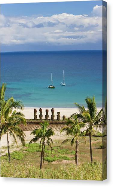 Anakena Beach, Yachts Moored In Front Canvas Print by Gavin Hellier / Robertharding