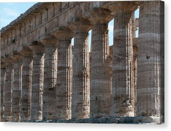 Ancient Greek Columns In Paestum Canvas Print