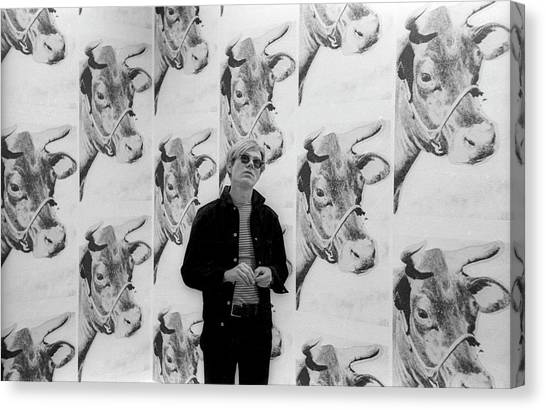 Andy Warhol And Cows Canvas Print