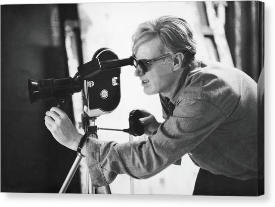 Andy Warhol Lines Up A Shot Canvas Print by Fred W. Mcdarrah