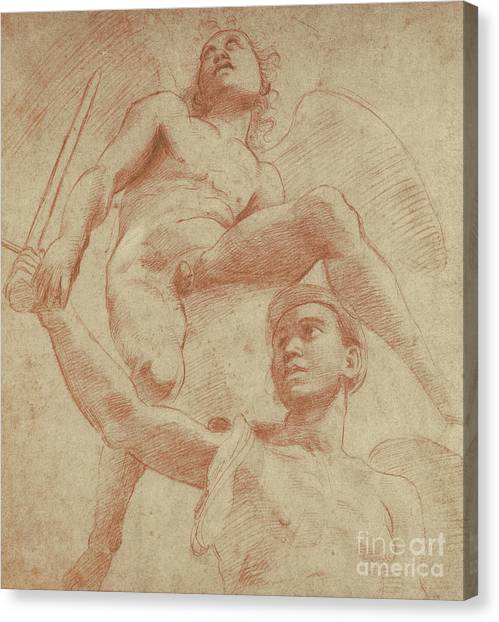 God Of War Canvas Print - Angel And A Figure Representing The Planet Mars by Raphael
