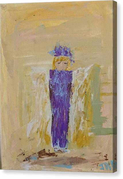 Angel Girl With A Unicorn Canvas Print