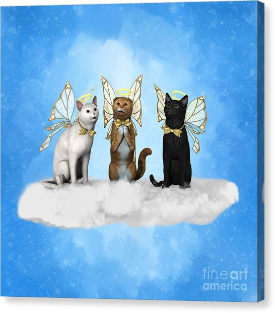 Scottish Folds Canvas Print - Angel Kitty Choir by Methune Hively