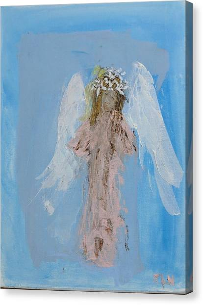 Angel With A Crown Of Daisies Canvas Print