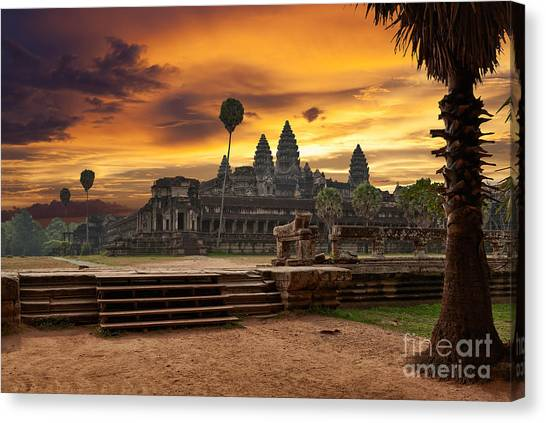 Worship Canvas Print - Angkor Wat At Sunset by Muzhik