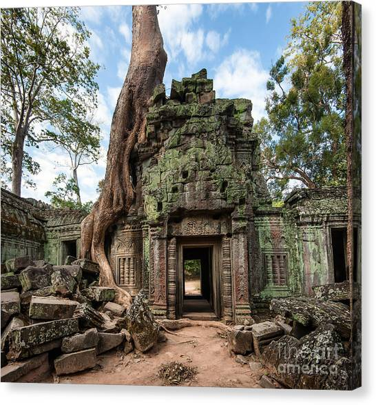 Worship Canvas Print - Angkor Wat Cambodia. Ta Prohm Khmer by Banana Republic Images