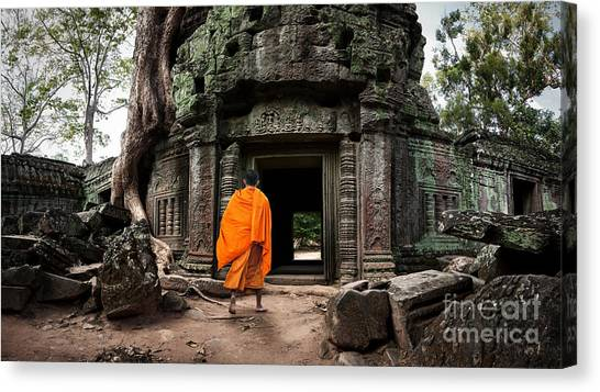 Worship Canvas Print - Angkor Wat Monk. Ta Prohm Khmer Ancient by Banana Republic Images