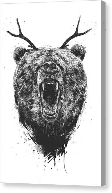 Black And White Canvas Print - Angry Bear With Antlers by Balazs Solti