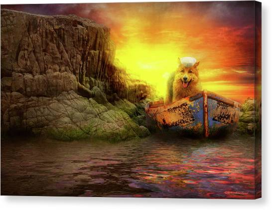 Canvas Print featuring the photograph Animal - Dog - Up The Creek Without A Pawdle by Mike Savad