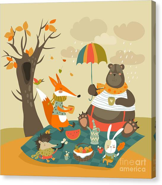 Basket Canvas Print - Animals At Picnic In Autumnal Forest by Maria Starus