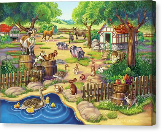 Animals At The Petting Zoo Canvas Print