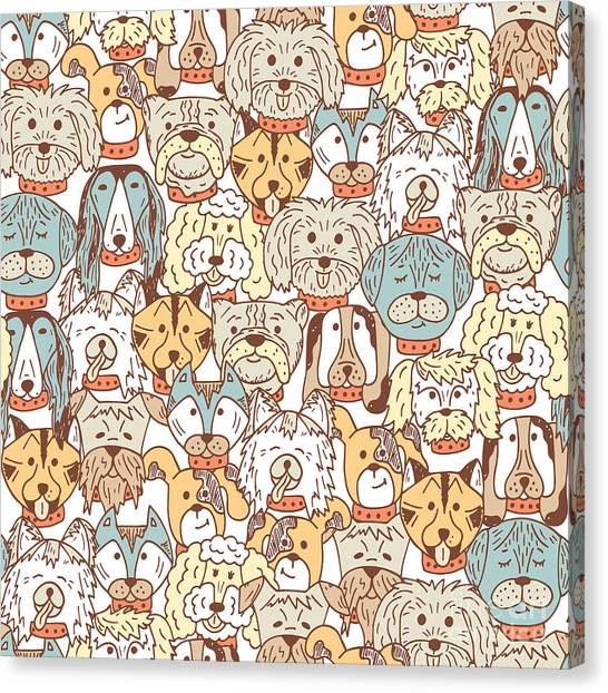 Animals. Dogs Vector Seamless Pattern Canvas Print by Allnikart