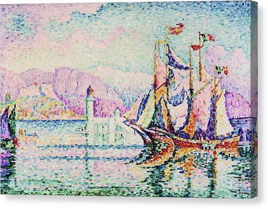 Signac Canvas Print - Antibes, Morning - Digital Remastered Edition by Paul Signac