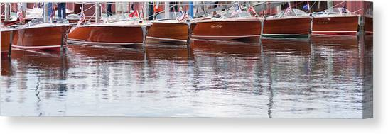 Antique Classic Wooden Boats In A Row Panorama 81112p Canvas Print