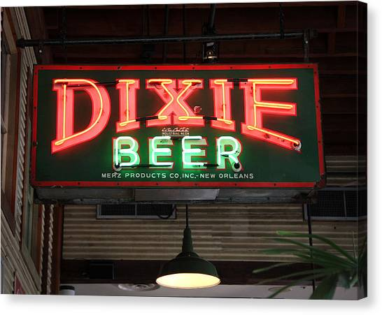 Antique Dixie Beer Neon Sign Canvas Print