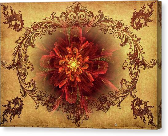 Antique Foral Filigree In Crimson And Gold Canvas Print