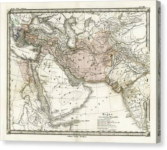 Antique Map Of Alexander The Greats Canvas Print