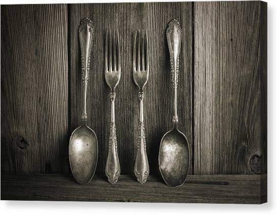 Utensil Canvas Print - Antique Silver Tableware by Tom Mc Nemar