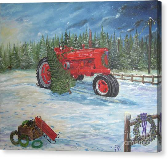 Antique Tractor At The Christmas Tree Farm Canvas Print