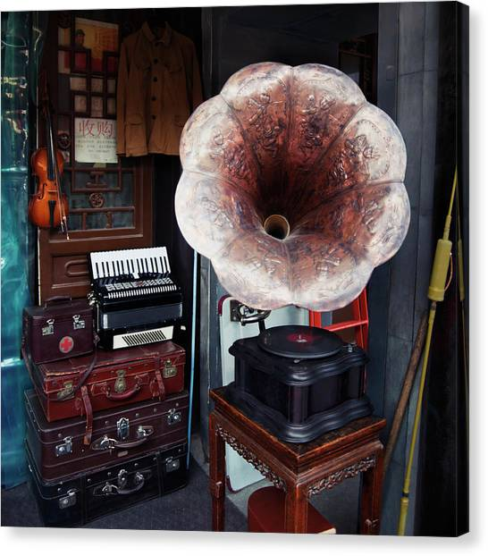 Fleas Canvas Print - Antique Victrola In Panjiayuan Flea by Design Pics / Keith Levit