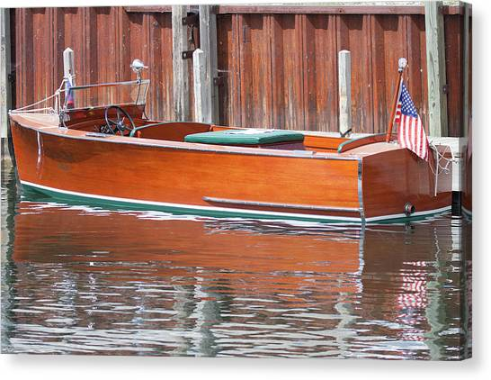 Antique Wooden Boat By Dock 1302 Canvas Print