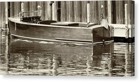 Antique Wooden Boat By Dock Sepia Tone 1302tn Canvas Print