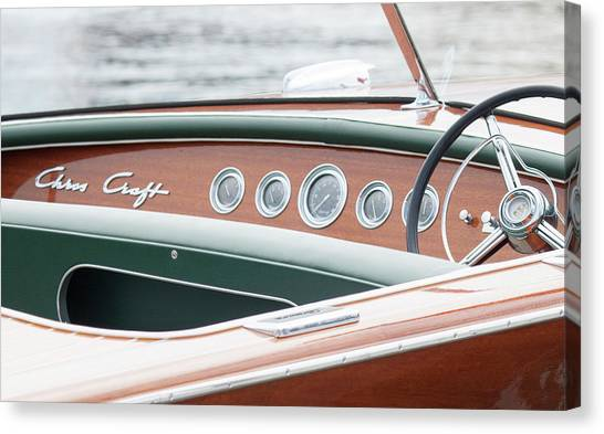 Antique Wooden Boat Dashboard 1306 Canvas Print