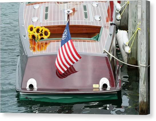 Antique Wooden Boat With Flag And Flowers 1304 Canvas Print