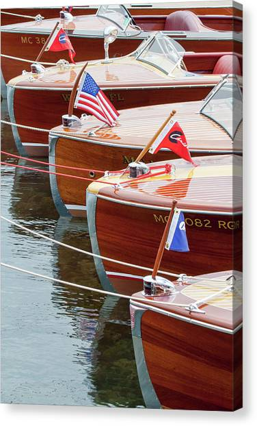 Antique Wooden Boats In A Row Portrait 1301 Canvas Print
