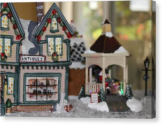 Antiques In Christmas Town Canvas Print