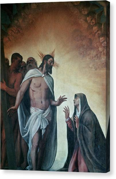 Resurrected Canvas Print - Appearance Of Risen Christ To Virgin By Titian by Titian