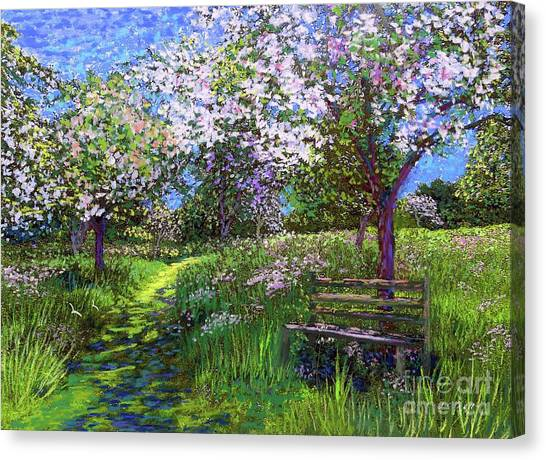 Sun Canvas Print - Apple Blossom Trees by Jane Small