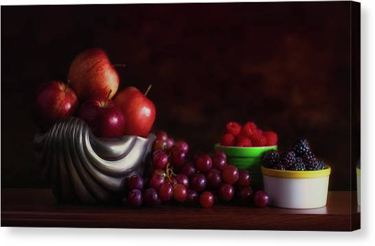 Raspberries Canvas Print - Apples With Grapes And Berries Still Life by Tom Mc Nemar