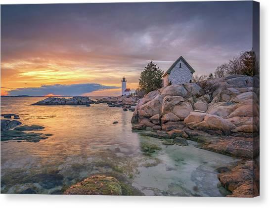 April Sunset At Annisquam Harbor Lighthouse Canvas Print