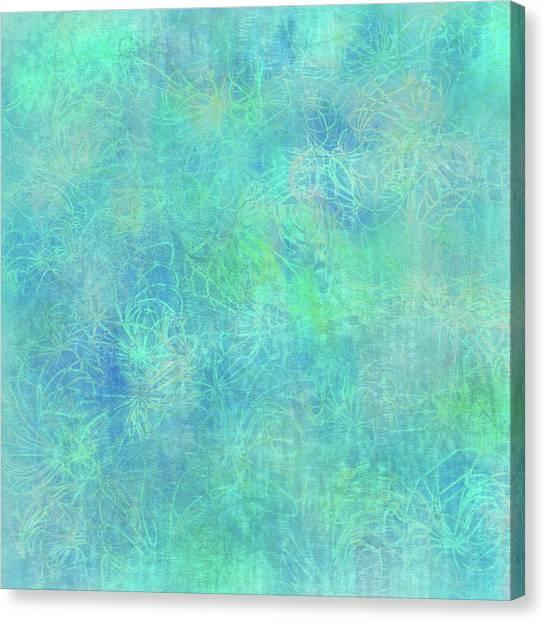 Aqua Batik Print Coordinate Canvas Print