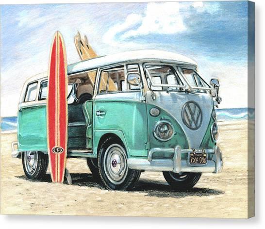 Surfboard Canvas Print - Aqua Vw Van by John Shaffer
