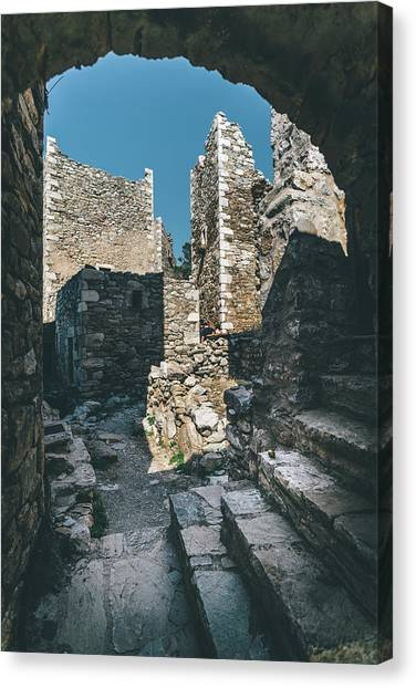 Architecture Of Old Vathia Settlement Canvas Print
