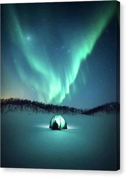 Aurora Borealis Canvas Print - Arctic Camping by Tor-Ivar Naess